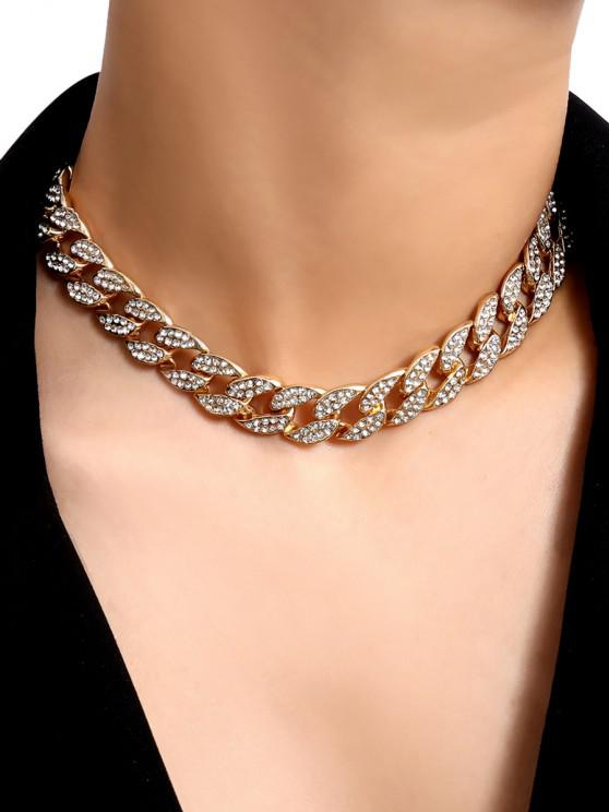 chic Rhinestone Curb Chain Choker Necklace - GOLD