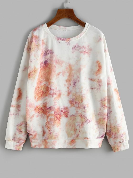 affordable Oversize Tie Dye Sweatshirt - LIGHT ORANGE S