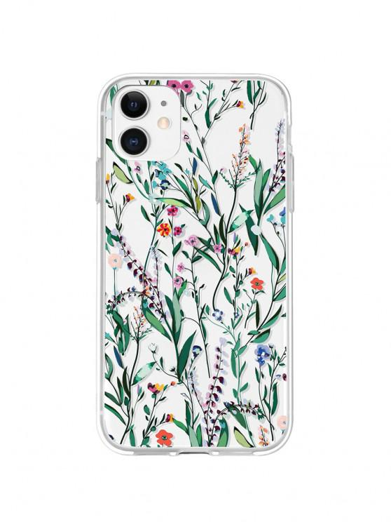 fashion Flower Leaves Print Phone Case For IPhone - SEA GREEN 11