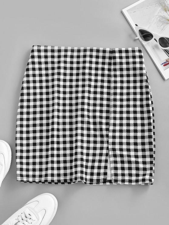shops Checked Front Slit Mini Bodycon Skirt - BLACK M
