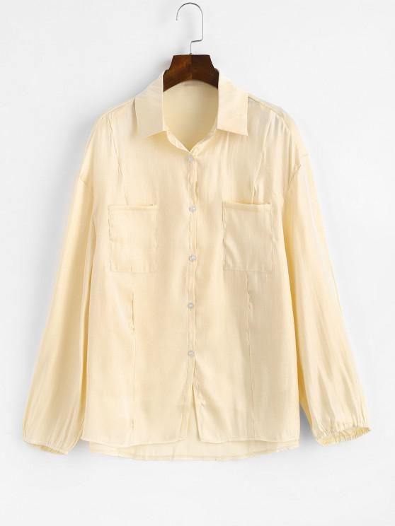 ladies Button Down Front Pockets Shiny Shirt - LIGHT YELLOW L