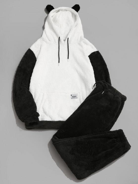 shop ZAFUL Letter Applique Faux Fur Fluffy Hoodie and Pants Set - BLACK 2XL