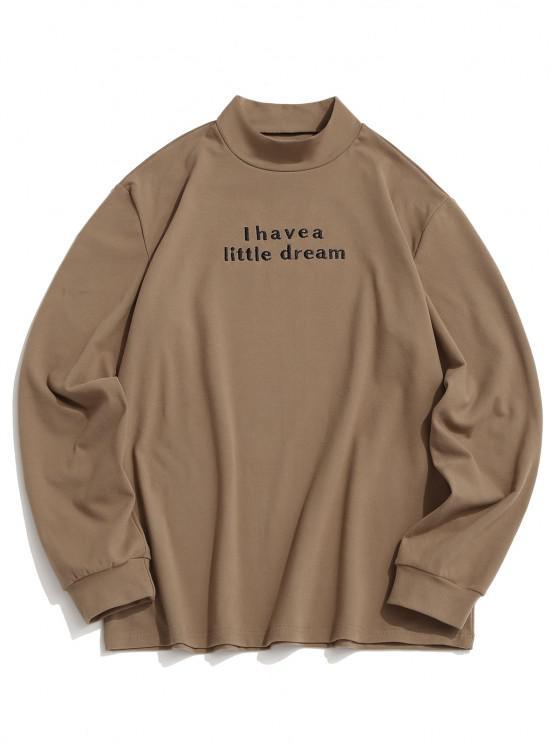 ZAFUL Letter Embroidered Mock Neck Slogan Fleece T-shirt - القهوة الخفيفة M