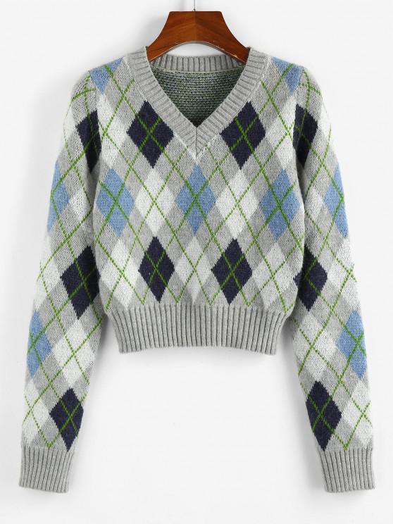 outfit ZAFUL Argyle V Neck Ribbed Trim Jumper Sweater - MULTI S