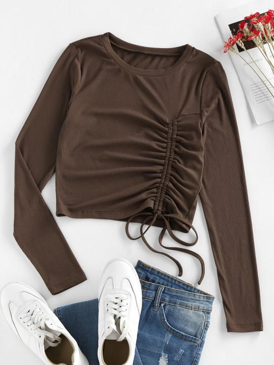 chic ZAFUL Ribbed Cinched Ruched Slim Tee - MOCHA M