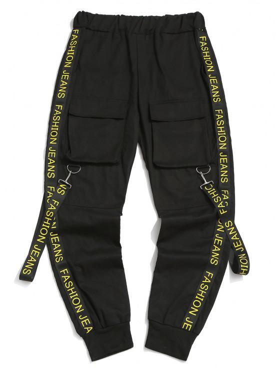 Pantalones con Correa Estampada de Letras - Negro M