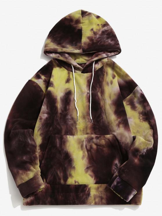 sale Tie Dye Kangaroo Pocket Fleece Hoodie - LIGHT YELLOW XL