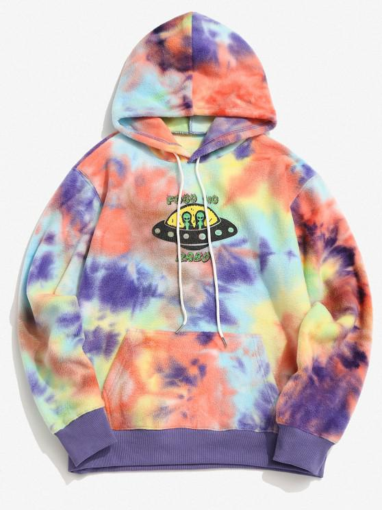 ET Alien Spaceship Pattern Tie Dye Fleece Hoodie - Amarelo 2XL