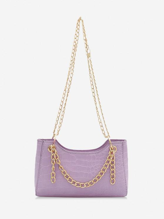 latest Brief Embossed Chain Shoulder Bag - LILAC