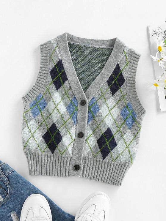 ZAFUL Argyle Button Up Vest Cardigan - متعدد M