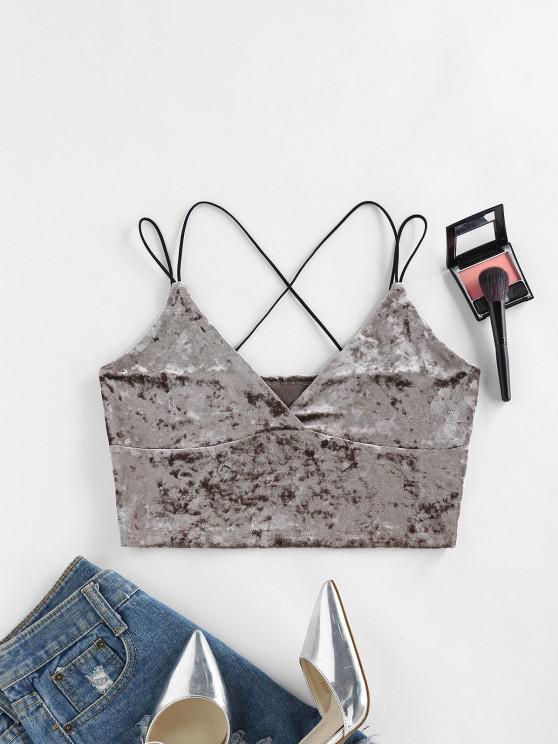 women's ZAFUL Dual Cross Strap Velvet Crop Cami Top - DARK KHAKI XL