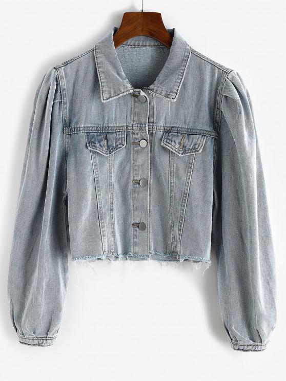 shops Puff Sleeve Frayed Hem Cropped Denim Jacket - BLUE GRAY M