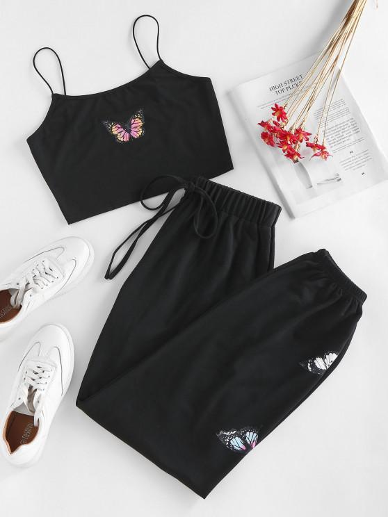 women ZAFUL Cami Butterfly Tie Two Piece Pants Set - BLACK L