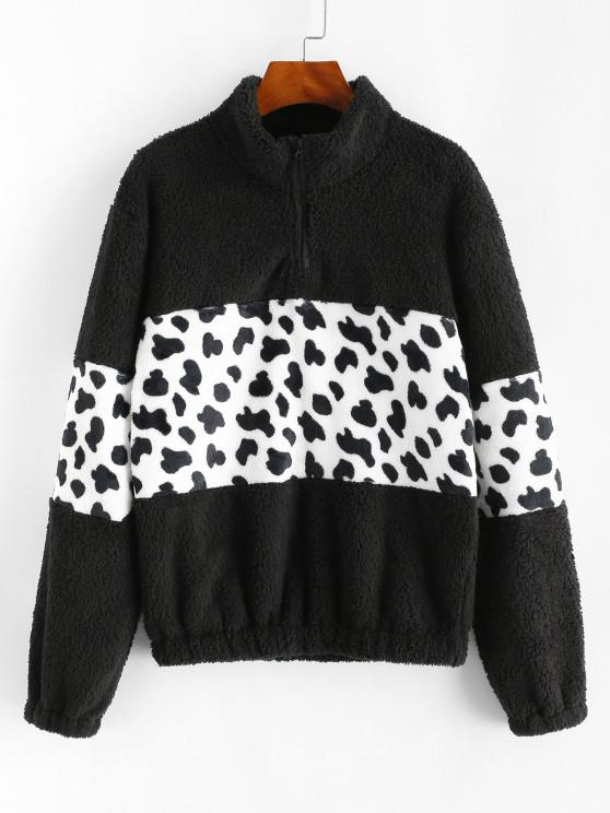 Leopard Quarter Zip Fluffy Sweatshirt - أسود L