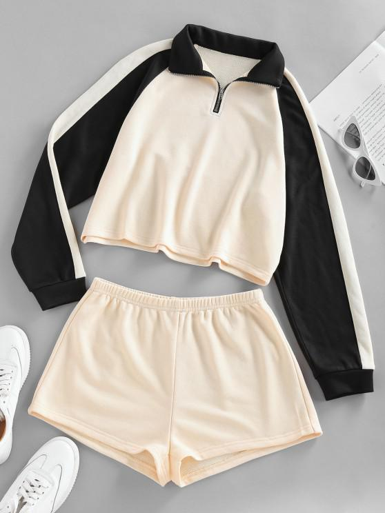 ZAFUL Two Tone Raglan Sleeve Sweatshirt and Shorts Set - Cornsilk S