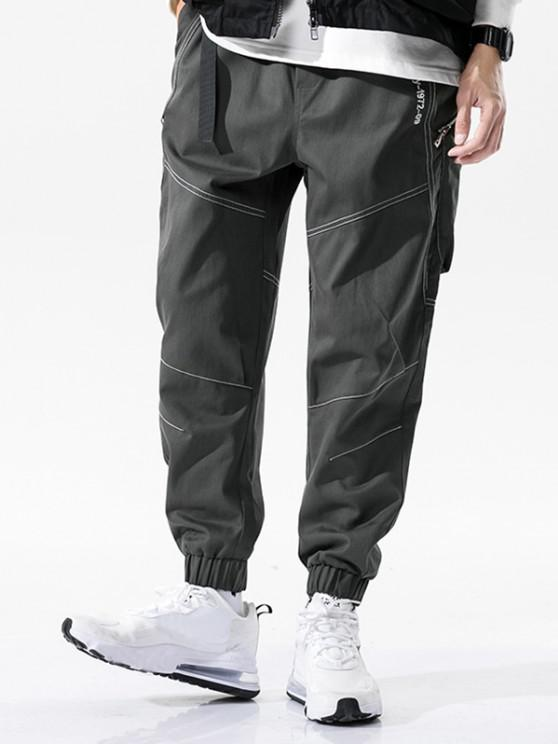 shop Letter Embroidery Stitching Zipper Pocket Cargo Pants - GRAY L