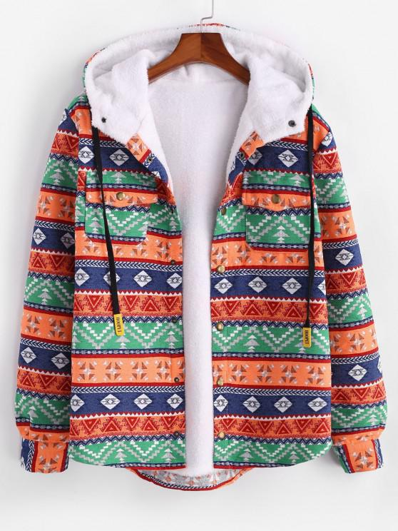 Ethnic Tribal Pattern Plush Hooded Shirt Jacket - برتقالي قاتم M