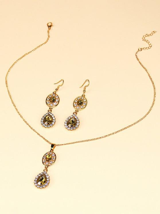 Faux Crystal Water Drop Jewelry Suit - ذهبي