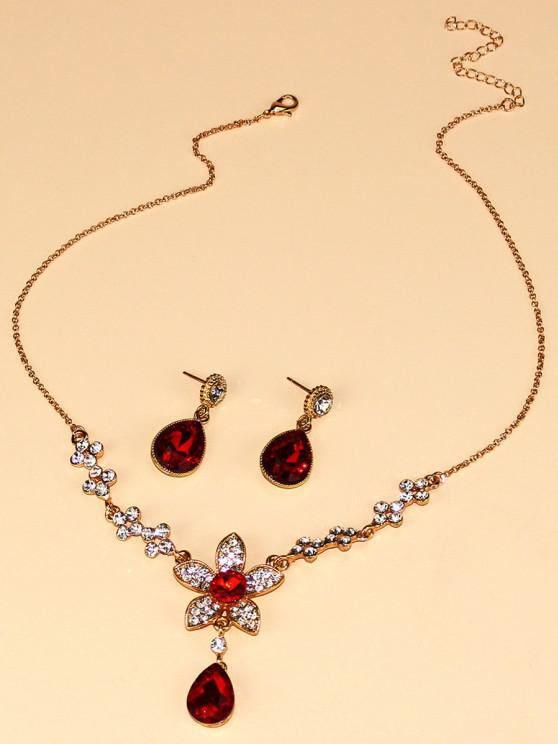 hot Floral Water Drop Faux Crystal Necklace Earrings Set - GOLDEN