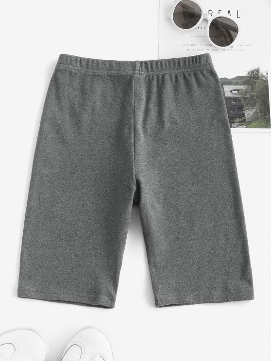 sale Flocking High Waisted Biker Shorts - GRAY L