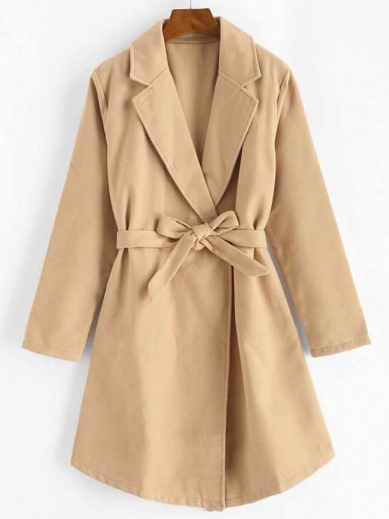 lady Snap Button Belted Wool Blend Coat - LIGHT COFFEE M