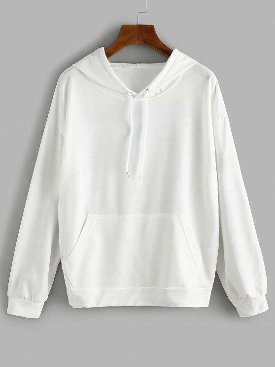 Front Pocket LIKE A GIRL Butterfly Back Hoodie - أبيض L