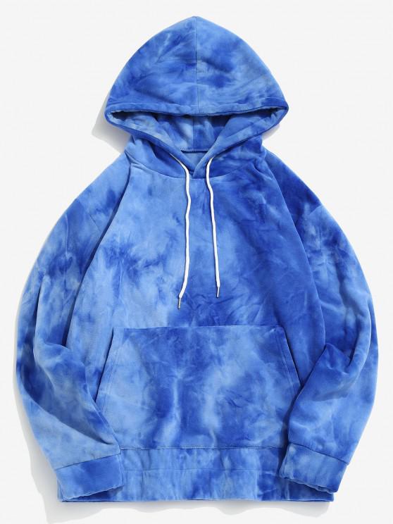 Tie Dye Kangaroo Pocket Fleece Hoodie - أزرق XL
