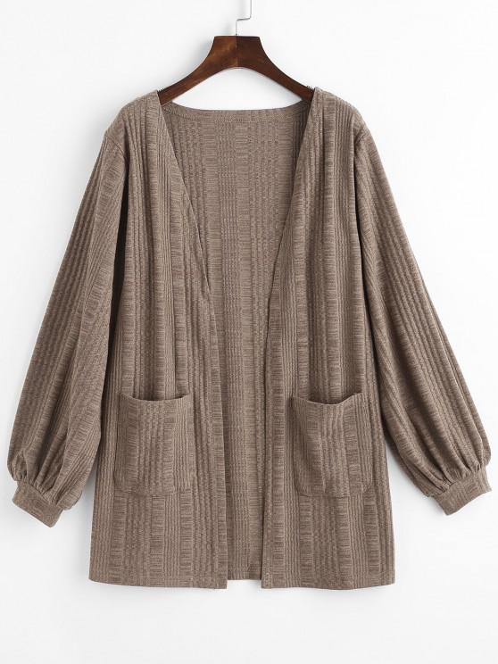 hot Rib-knit Front Pocket Lantern Sleeve Cardigan - COFFEE M