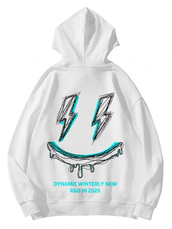 Winterly Eraser Lightning Pattern Graphic Hoodie - أبيض XS