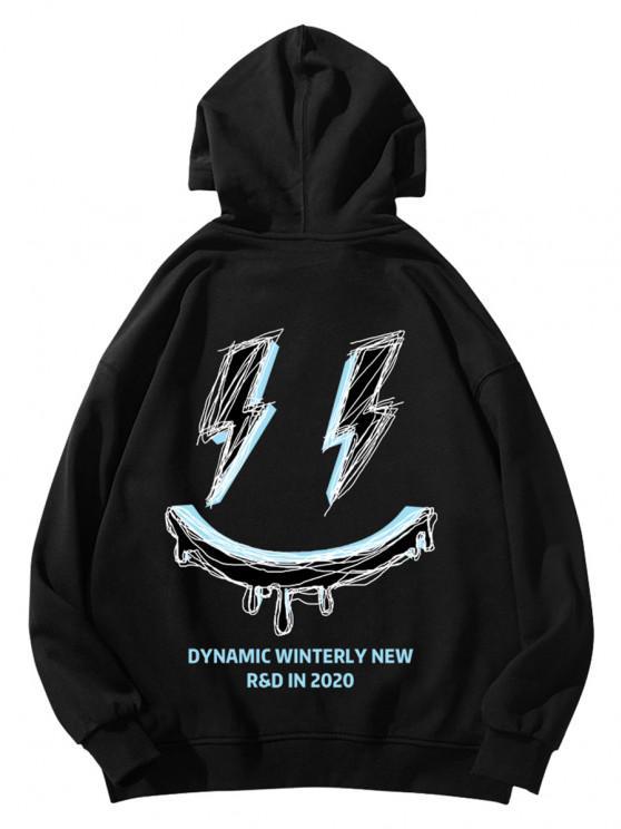 sale Winterly Eraser Lightning Pattern Graphic Hoodie - BLACK 2XL