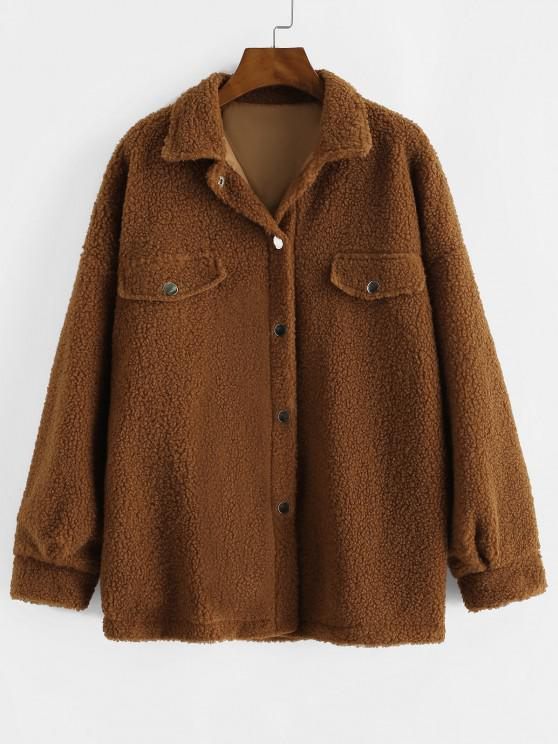 Snap Button Flap Detail Teddy Coat - قهوة S