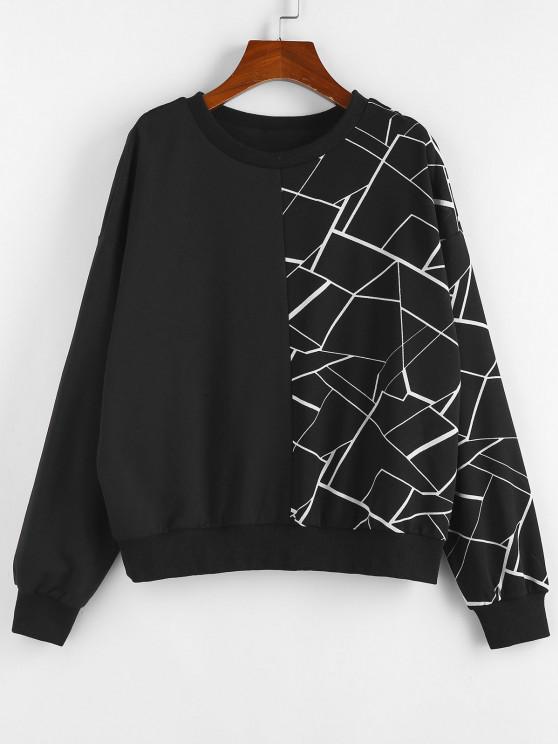 ZAFUL Geometry Drop Shoulder Sweatshirt - أسود M