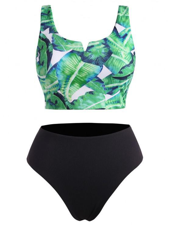online ZAFUL Plus Size V-wired Palm Leaf Ribbed Tankini Swimwear - DEEP GREEN XXL