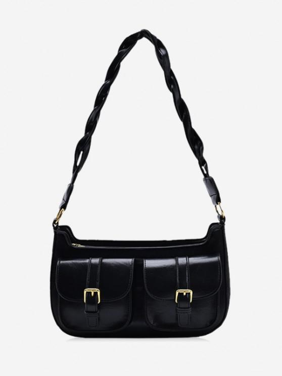 online Twist Strap Shoulder Messenger Bag - BLACK