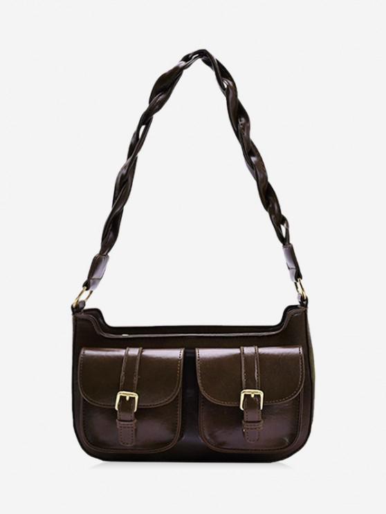Twist Strap Shoulder Messenger Bag - قهوة