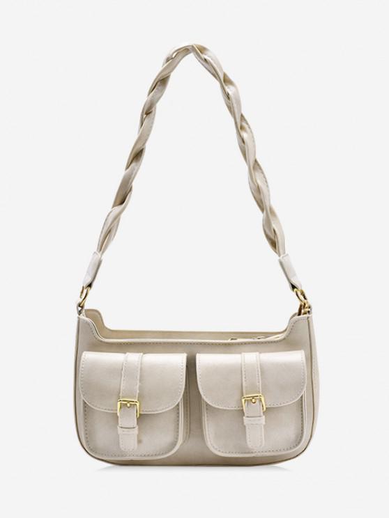 latest Twist Strap Shoulder Messenger Bag - BEIGE