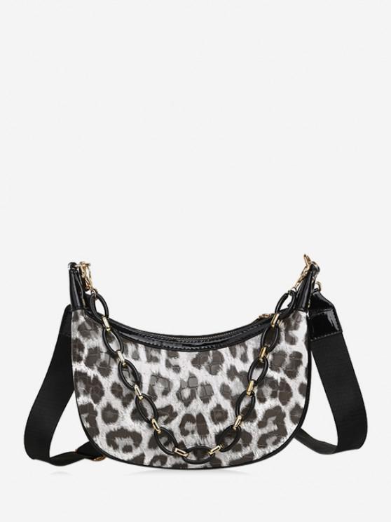 fancy Leopard Printed Chain Crossbody Bag - BEIGE
