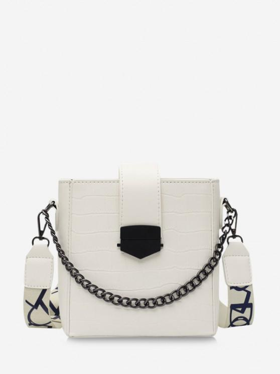shop Retro Square Chain Embossing Crossbody Bag - WHITE