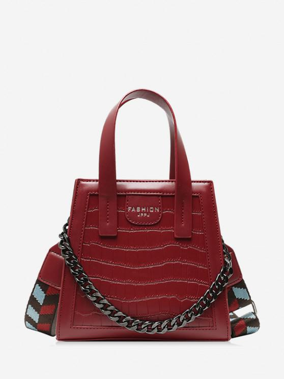 fashion Chain Embossing Solid Crossbody Bag - RED