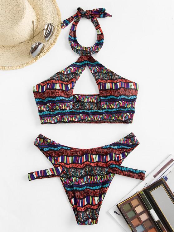 ZAFUL Bohemian Halter Cutout Bikini Swimwear - أحمر S
