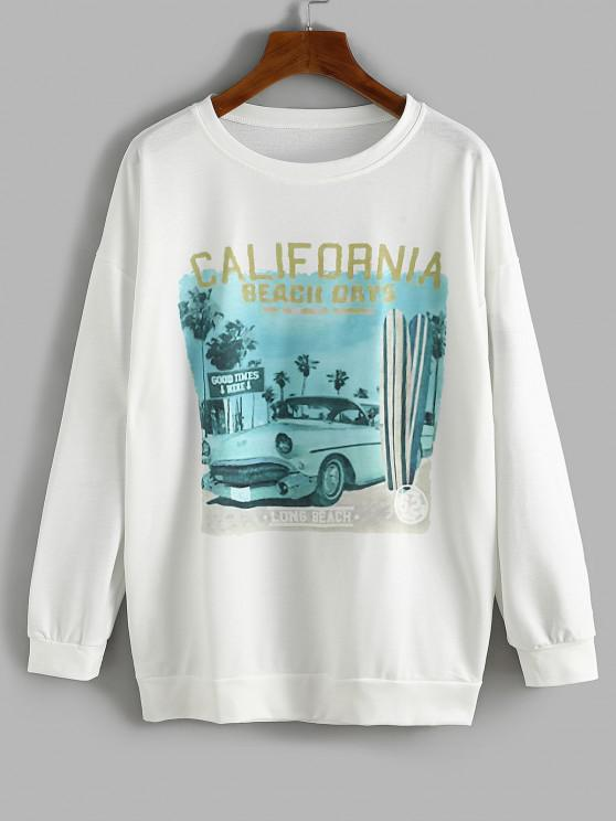Oversize Car CALIFORNIA Graphic Sweatshirt - أبيض M
