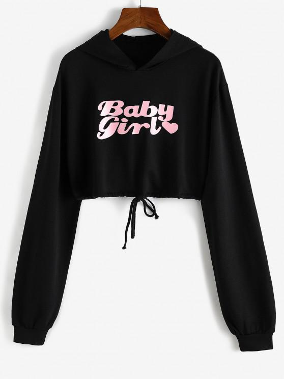 Heart Baby Girl Graphic Cropped Hoodie - أسود L