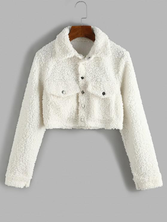 fashion Cropped Flap Pockets Teddy Jacket - WARM WHITE M