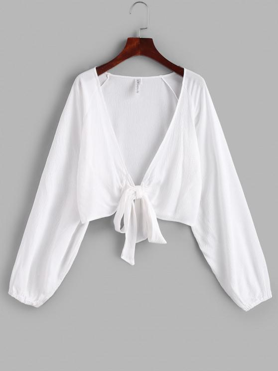 womens ZAFUL Raglan Sleeve Tie Front Crop Cover Up Top - WHITE ONE SIZE