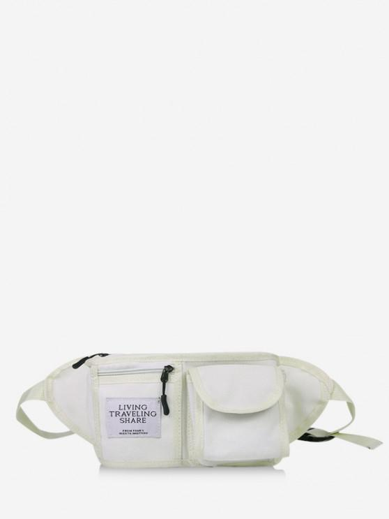 buy Canvas Pockets Chest Waist Bag - MILK WHITE