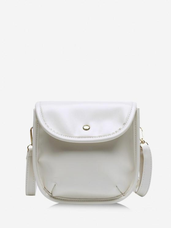 women Solid Cover Crossbody Saddle Bag - WHITE