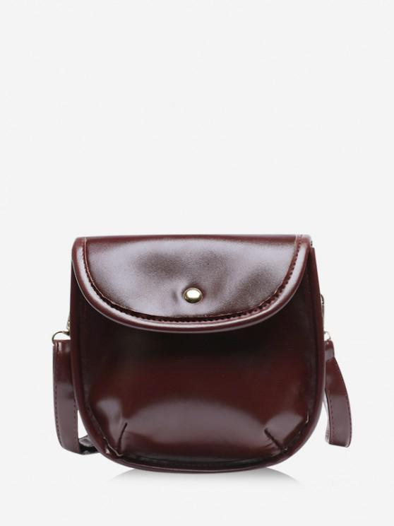 ladies Solid Cover Crossbody Saddle Bag - COFFEE