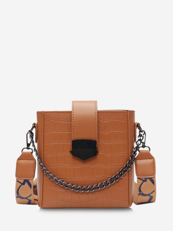 lady Retro Square Chain Embossing Crossbody Bag - BROWN