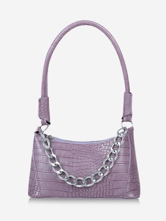 women's Solid Chain Textured Shoulder Bag - MAUVE