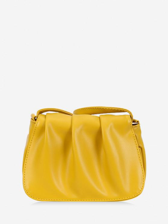 online Solid Pleated Shoulder Bag - SUN YELLOW